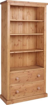 Tuscany Bookcase with Drawers Wax Finish