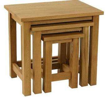 New England Oak Tables Nest of 3