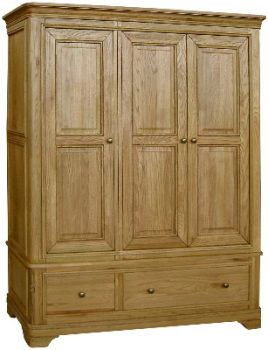 Versaille Wardrobe Triple with Drawers Oak