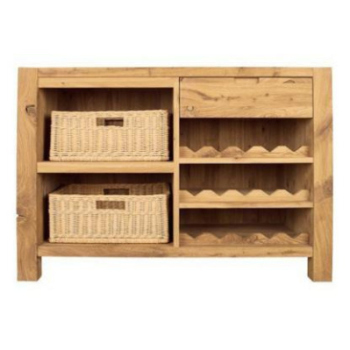 DISCONTINUED Driftwood Wine Rack With Baskets