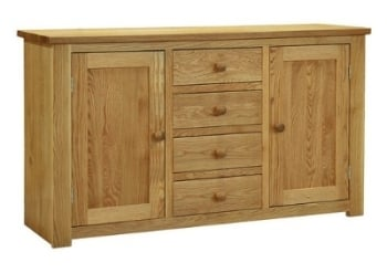Lauriston Sideboard 4 Drawer 2 Door Solid Oak