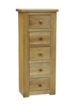 Lauriston Chest 5 Drawer Narrow Solid Oak