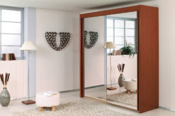 German Sliding Door Wardrobe Walnut Mirror