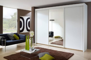 German Slidingdoor Wardrobe White with Glass Mirror