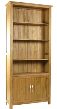 New England Oak Bookcase With Cupboard