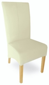 Roma Oak Chair Leather - Cream