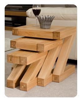 Zee Oak Tables Nest of 3