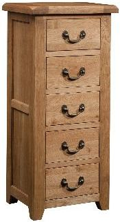 Windermere Oak Chest 5 Drawer Wellington