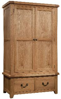 Windermere Oak Wardrobe with 2 Drawers