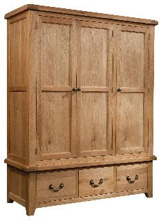 Windermere Oak Wardrobe Triple with 3 Drawers