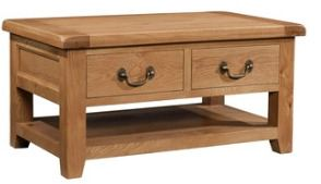 Windermere Oak Coffee Table 2 Drawers