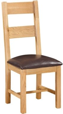 New Amber Oak Chair Ladder Back