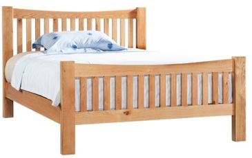 New Amber Oak Bed Double High Foot End
