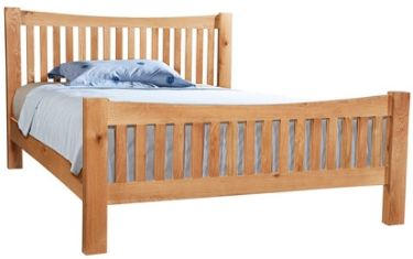 New Amber Oak Bed King Size High Foot End