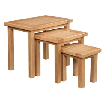 New Amber Oak Table Nest of 3