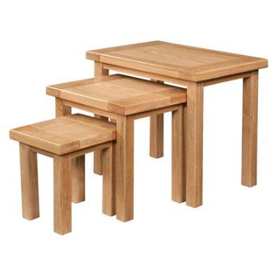 New Amber Oak Table Nest of 3