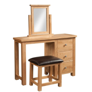 New Amber Oak Dressing Table + Stool