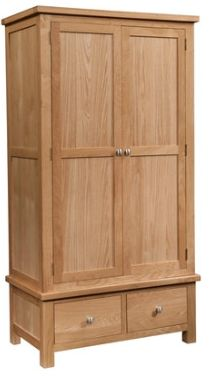 New Amber Oak Wardrobe Double with 2 Drawers