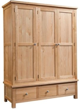 New Amber Oak WardrobeTriple with 3 Drawers
