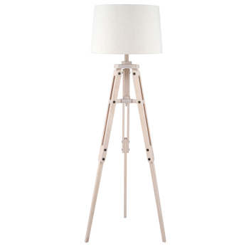 Wood Tripod & Jute Floor Lamp Complete