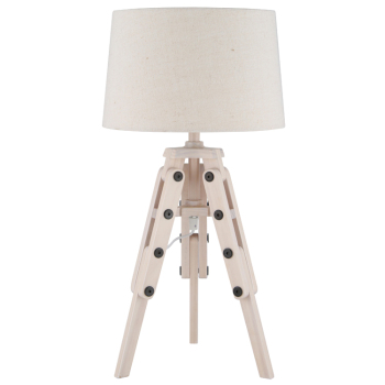 Wood Tripod & Jute Table Lamp Complete