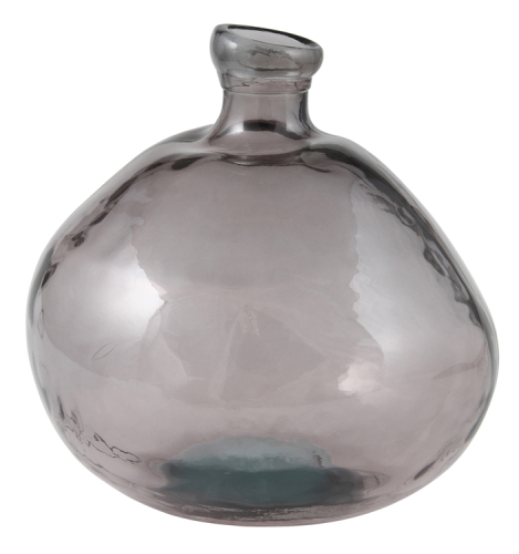 Recycled Smoked Grey Glass Vase Low
