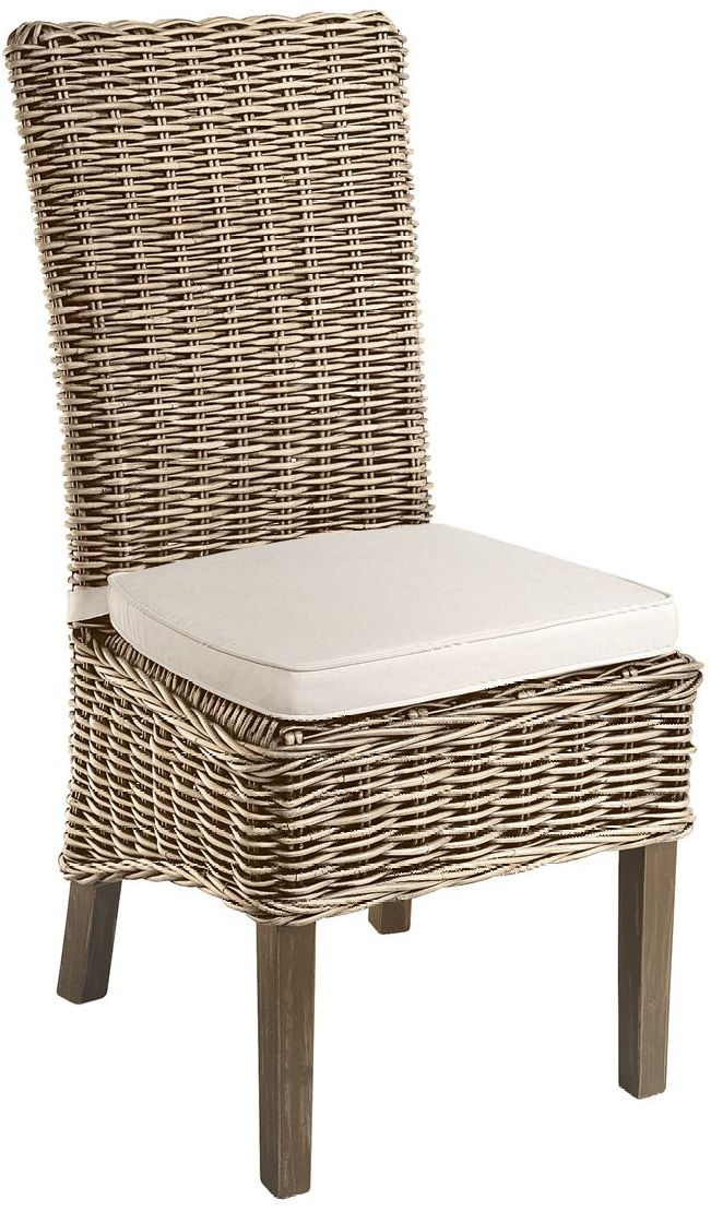 Monpellier Dining Chair Grey Wash Rattan High Dark