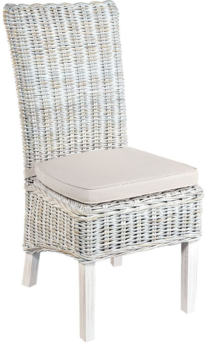 Monpellier Dining Chair White Wash Rattan Highback