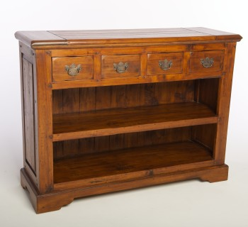 East Indies Bookcase Open with Drawers