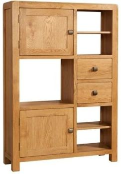 Nova Oak Unit Display High  2 Doors & 2 Drawers