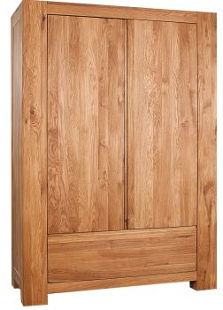Loft Solid Oak Robe Double with Drawer