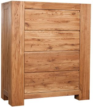 Loft Solid Oak Chest 4 Drawer Tall