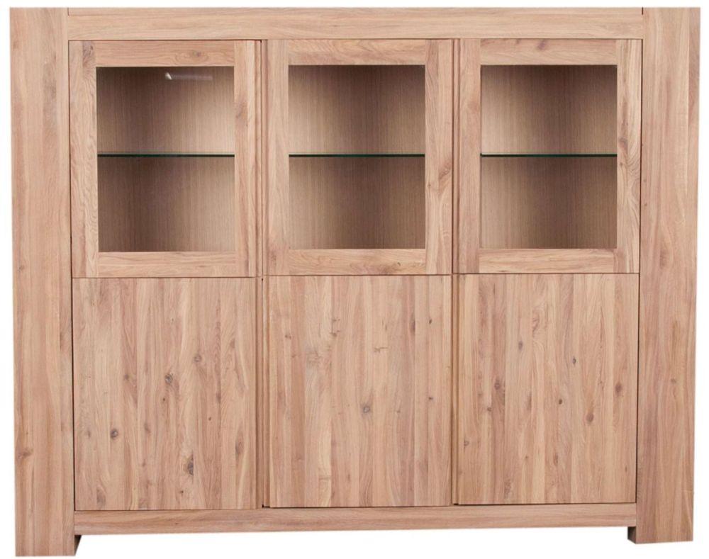 Loft Sideboard Glazed 3 Door Solid European Oak Oil Finish