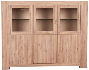 Loft Sideboard Glazed 3 Door Solid European Oak Oil Finish