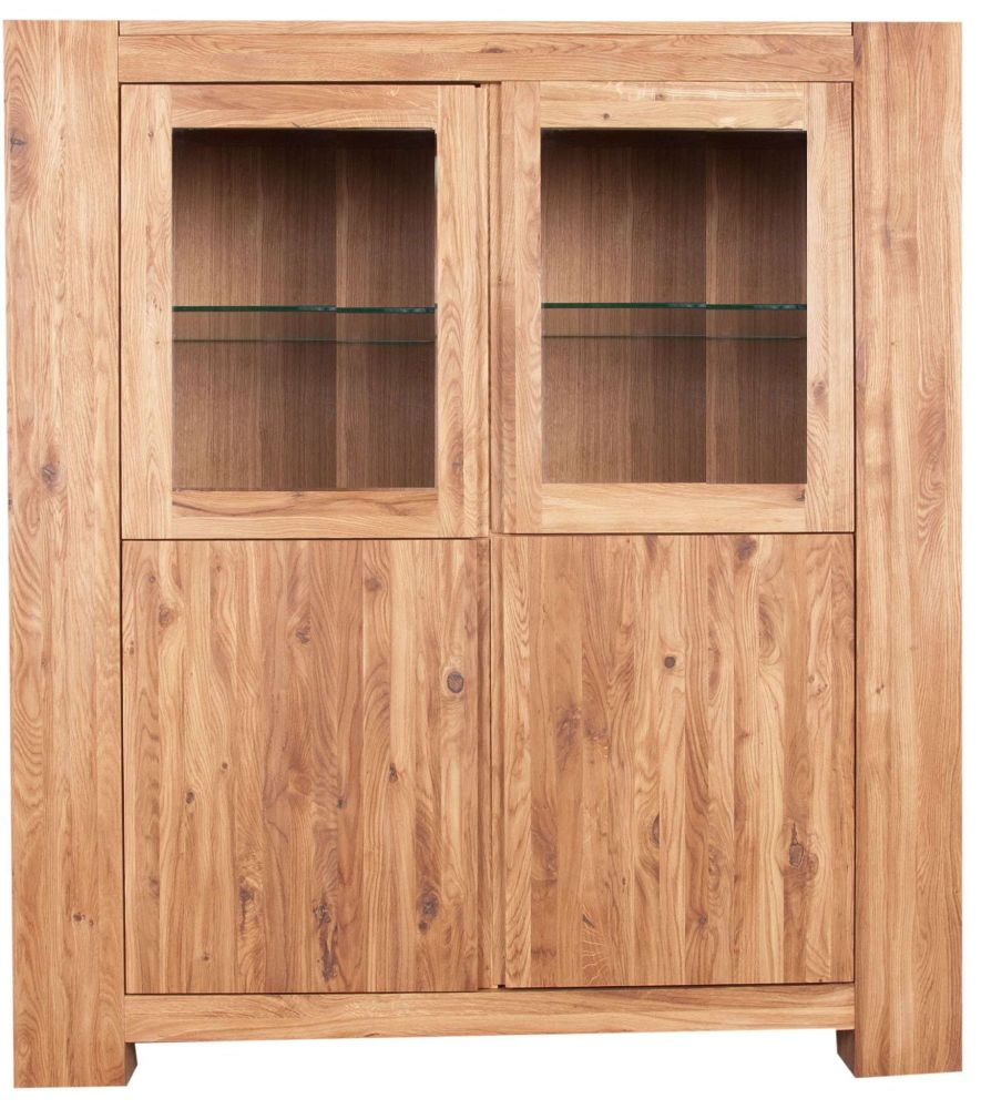 Loft Unit Glazed Display Solid European Oak Oil Finish