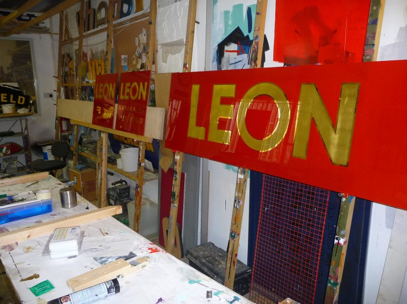 leon - glass gilding in a frame