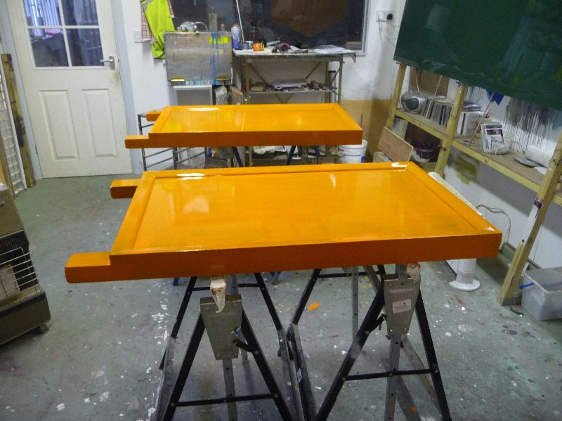 a-boards with first coat of gloss
