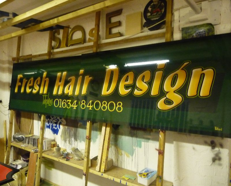 fresh hair design rochester dibond panel with hand painted lettering