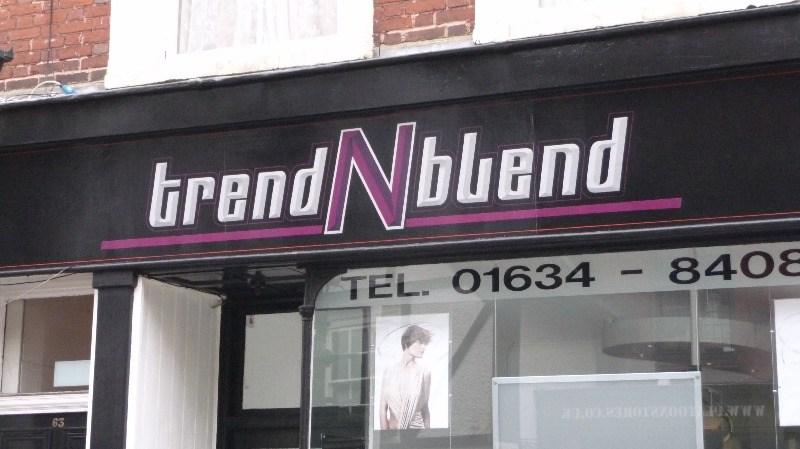 trend n blend hairdresser signage rochester