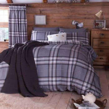 Catherine Lansfield Kelso Double Duvet Set - Charcoal - A