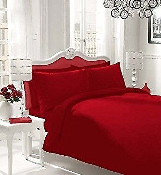 NON IRON Luxury Parcale Plain Dyed Duvet Cover Bed Set (Red, Double) - A
