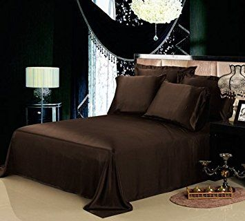 NON IRON Luxury Parcale Plain Dyed Duvet Cover Bed Set (Chocolate, Double)