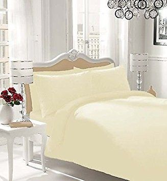 NON IRON Luxury Parcale Plain Dyed Duvet Cover Bed Set (Cream, King) - A