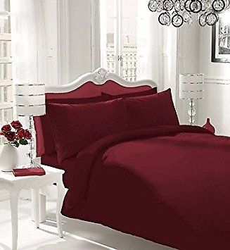 NON IRON Luxury Parcale Plain Dyed Duvet Cover & 2 Pillow Cases Bed Set (Burgundy, King) - A