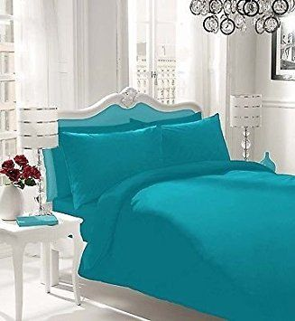 NON IRON Luxury Parcale Plain Dyed Duvet Cover & 2 Pillow Cases Bed Set (Teal, King) - A