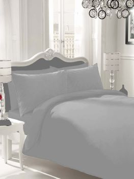 NON IRON Luxury Parcale Plain Dyed Duvet Cover & 2 Pillow Cases Bed Set (Silver, King) - A