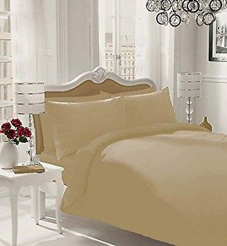 NON IRON Luxury Parcale Plain Dyed Duvet Cover & 2 Pillow Cases Bed Set (Natural, SuperKing) - A