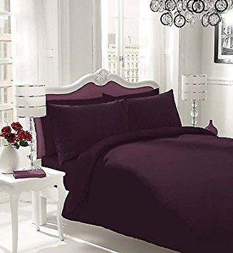 NON IRON Luxury Parcale Plain Dyed Duvet Cover & 2 Pillow Cases Bed Set (Berry, SuperKing) - A