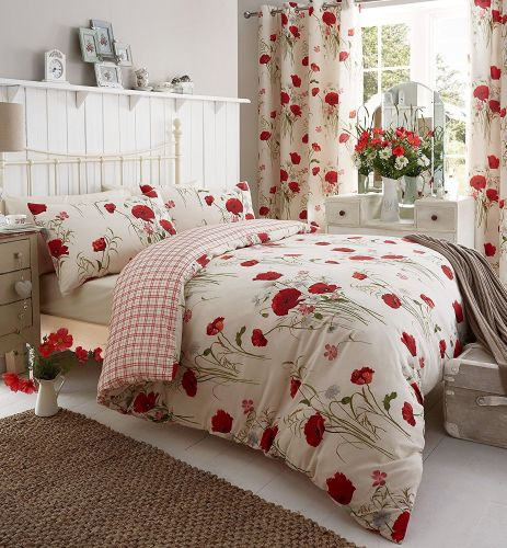 Catherine Lansfield Wild Poppies King Duvet Set - A