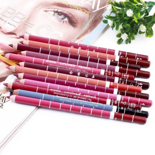 12 PCS Professional Lipliner Waterproof Lip Liner Pencil 15CM - A